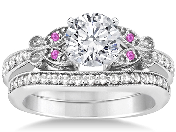 butterfly pink eyes bridal set in 14k white gold - Pink Wedding Ring Set