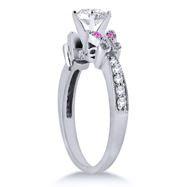 Butterfly Pink Eyes Bridal Set in 14K White Gold