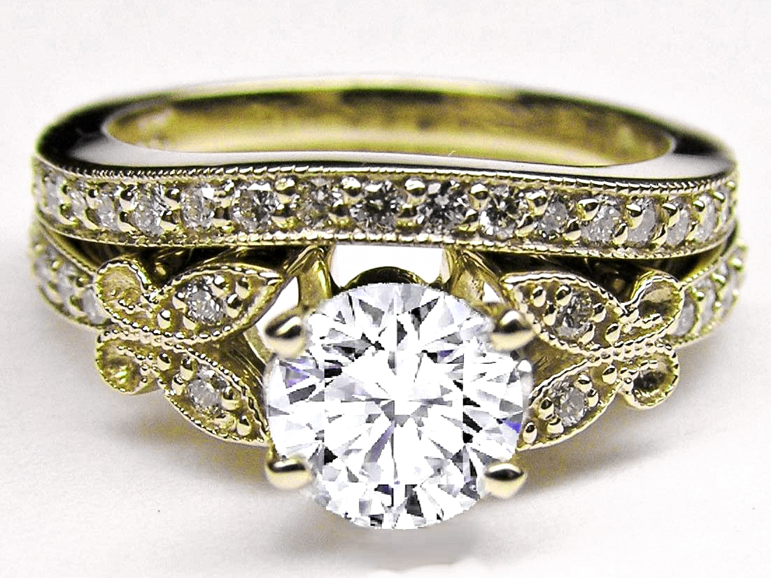 Diamond Butterfly Vintage Engagement Ring & Matching Wedding Band 0.37 tcw.  In Yellow Gold