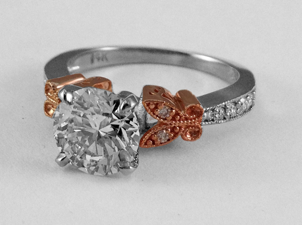 Two Tone Diamond Butterfly Vintage Engagement Ring In 14K White Gold, Rose Gold