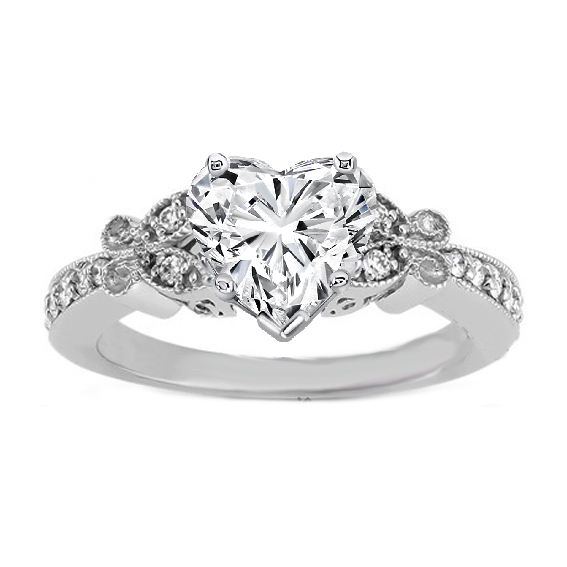 Heart Shape Diamond Erfly Vintage Engagement Ring 0 16 Tcw In 14k White Gold