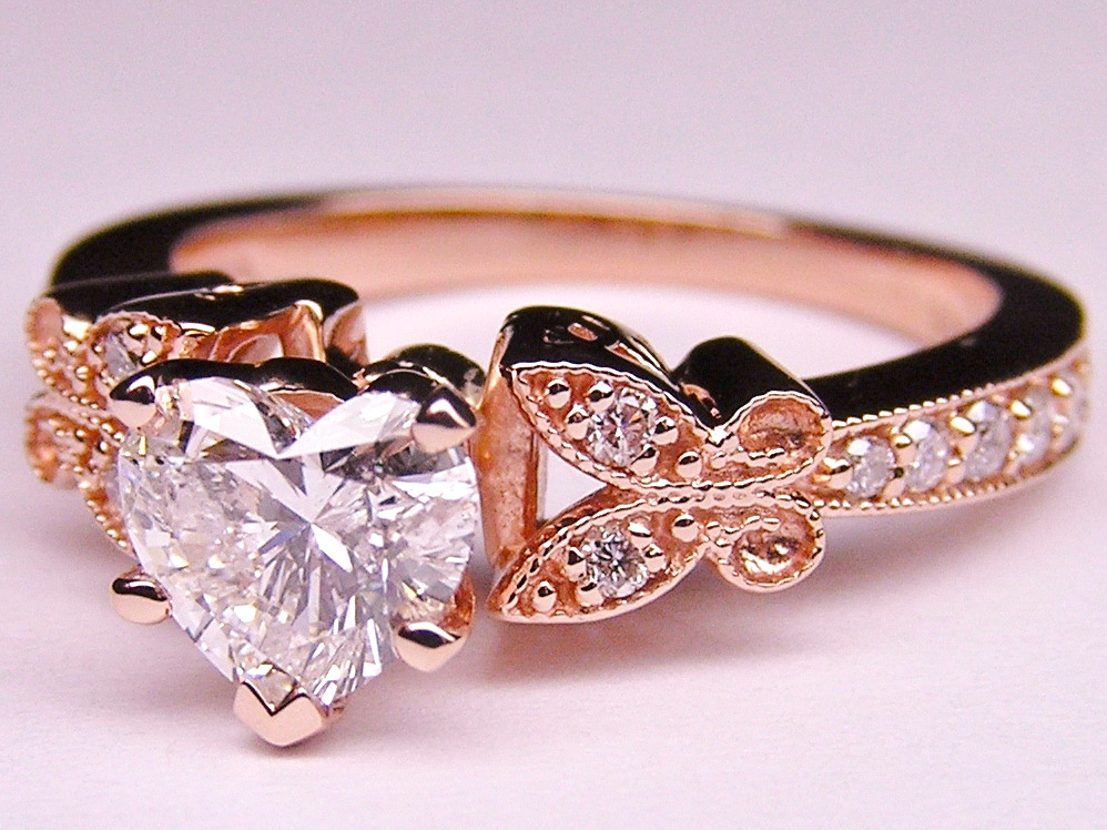 heart shape diamond butterfly vintage engagement ring 016 tcw in pink gold - Butterfly Wedding Ring