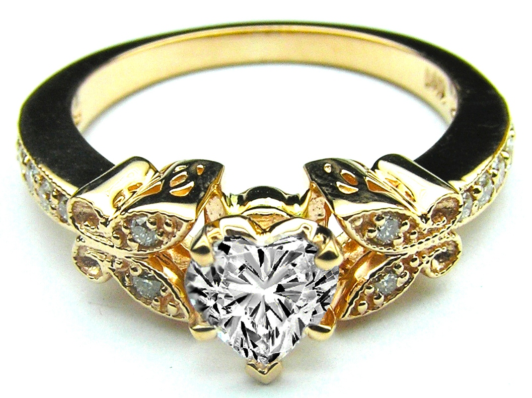 heart shape diamond butterfly vintage engagement ring 016 tcw - Butterfly Wedding Rings