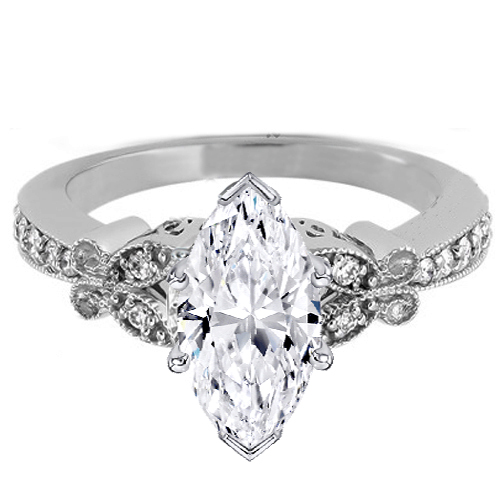 Marquise Diamond Vintage Butterfly Engagement Ring