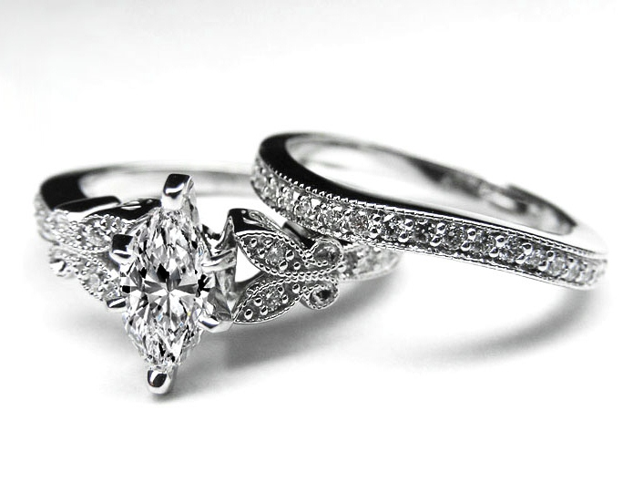 Engagement Ring Marquise Diamond Butterfly Vintage Engagement Ring
