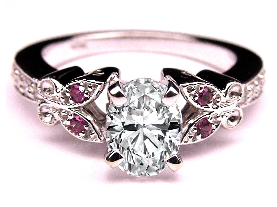 oval diamond butterfly pink eyes engagement ring in 14k white gold - Butterfly Wedding Rings