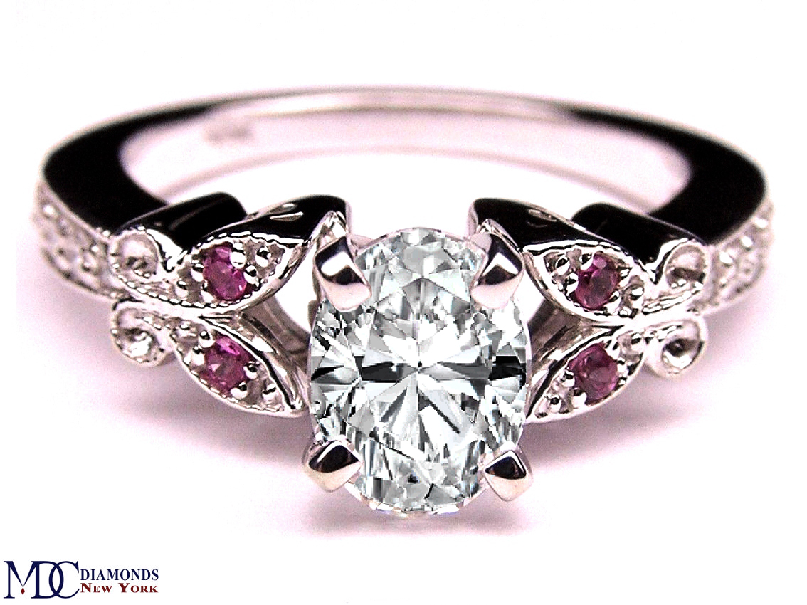 Oval Diamond Butterfly Pink Eyes Engagement Ring In 14K White Gold