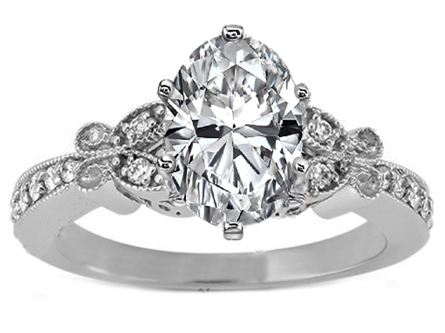 Oval Diamond Butterfly Vintage Engagement Ring setting