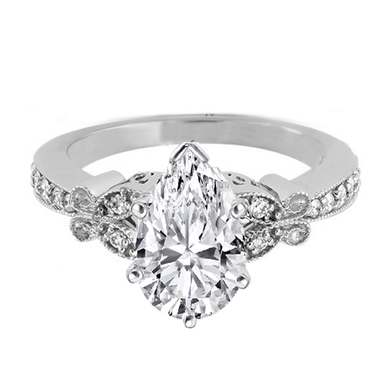 Pear Shape Diamond Butterfly Vintage Engagement Ring  0.16 tcw. In 14K White Gold