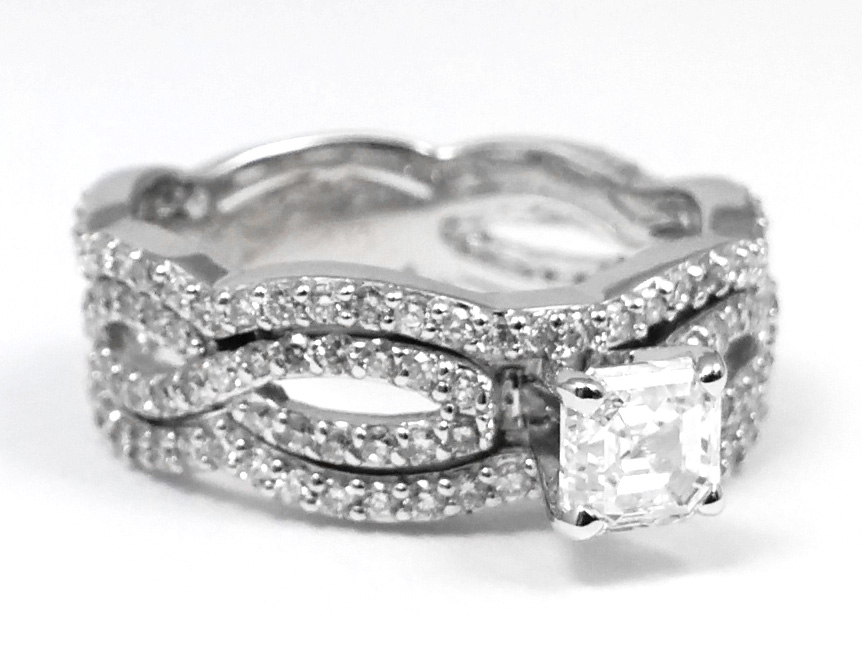 Vintage Asscher Diamond Infinity Engagement Ring & Matching Wedding Bands In 14K White Gold