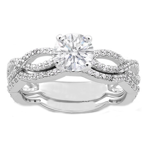 Vintage Style Infinity Diamond Engagement Ring And Matching Wedding Band 0 60 Tcw