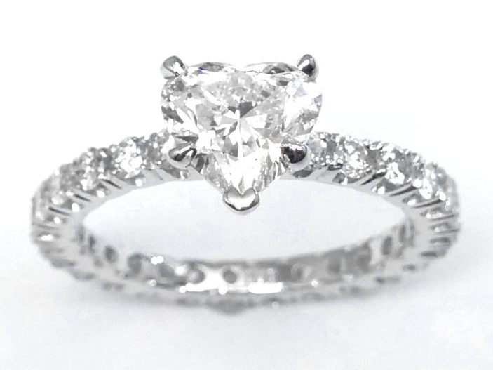 Heart Shape Eternity Diamond Engagement Ring 0.72 tcw.