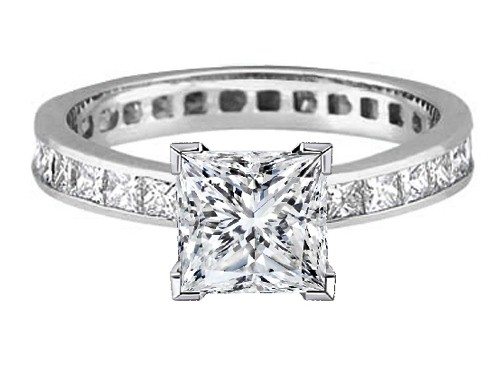 Princess Diamond Channel Set Eternity Engagement Ring 3.06 tcw. Platinum
