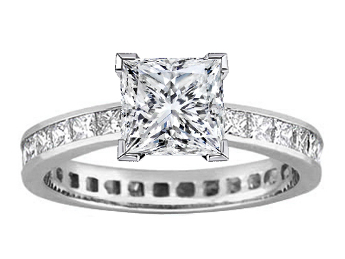 Princess Diamond Channel Set Eternity Engagement Ring 3.06 tcw.