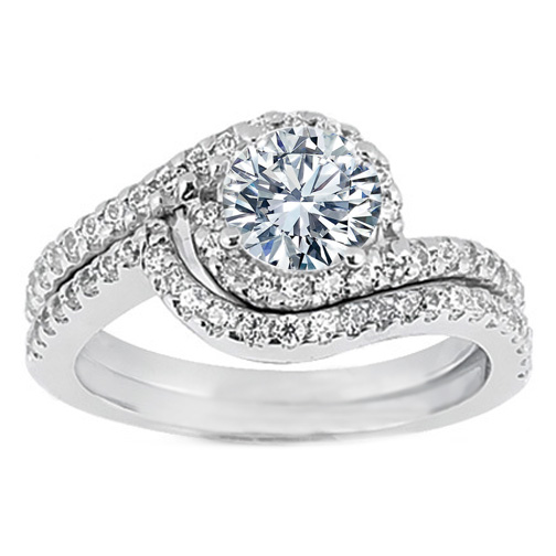Engagement Ring Swirl Diamond Halo Engagement Ring and Matching