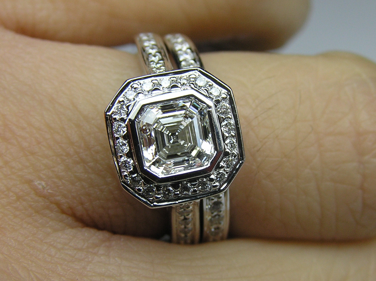 Asscher Cut Diamond Bezel Cathedral Halo Engagement Ring & Matching Wedding Band 0.51ctw.