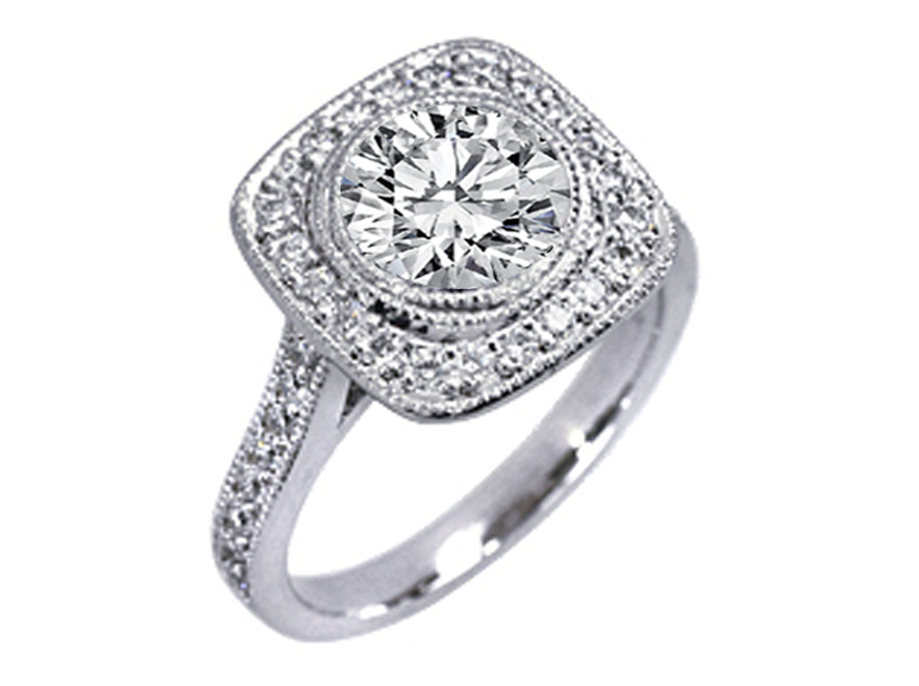Cathedral Bezel Engagement Ring with Side stones 0.40 tcw. In 14K White Gold