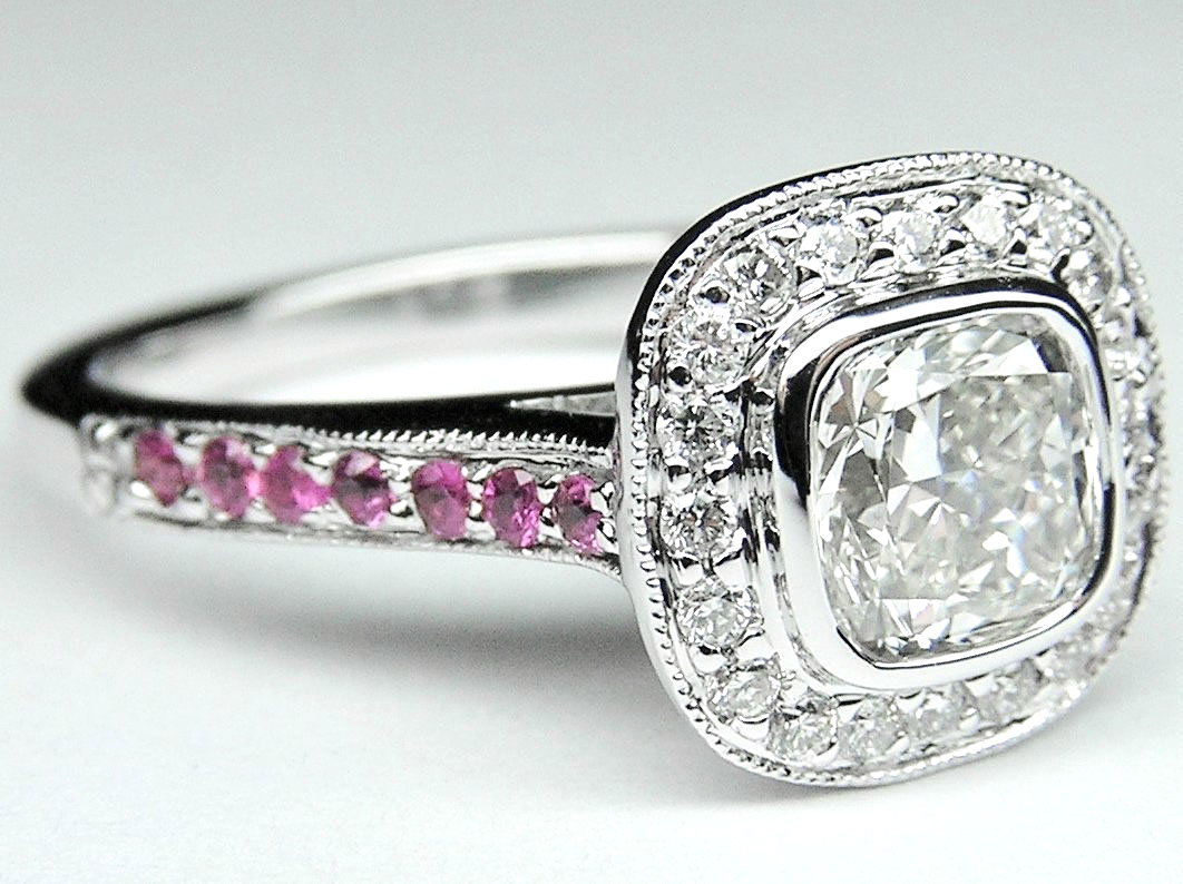 Cushion Cut Diamond Cathedral Halo Engagement Ring with Diamonds & Pink Sapphires