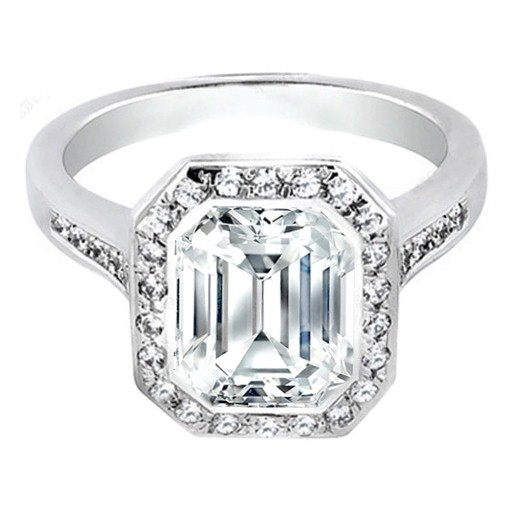 Emerald Cut Diamond Bezel Cathedral Halo Engagement Ring 0.37 tcw. In 14K White Gold