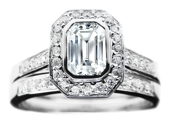 Emerald Cut Diamond Bezel Cathedral Halo Engagement Ring & Matching Band 0.52 tcw.