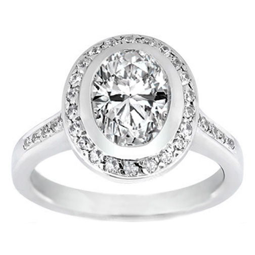 Oval Diamond Bezel Cathedral Halo Engagement Ring 0.29 tcw. In 14K White Gold