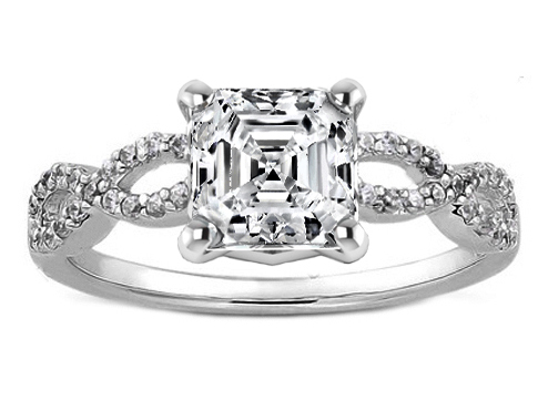 Asscher Cut Diamond Infinity Engagement Ring in 14K White Gold 0.21 tcw.