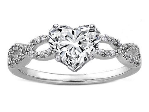 Engagement Ring Heart Shape Diamond Infinity Engagement Ring in
