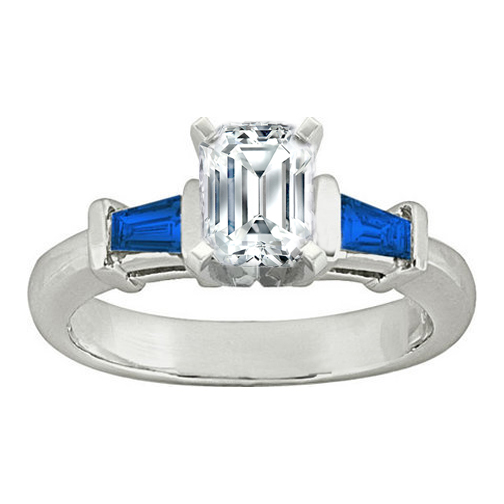 Engagement Ring Emerald cut Diamond Engagement Ring with Blue