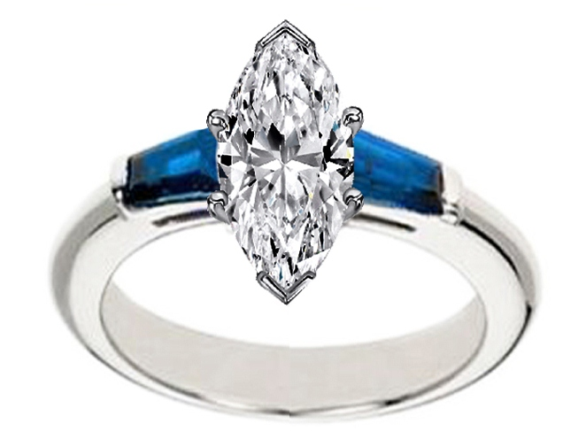 Engagement Ring Marquise Diamond Engagement Ring with Blue Sapphire tapered