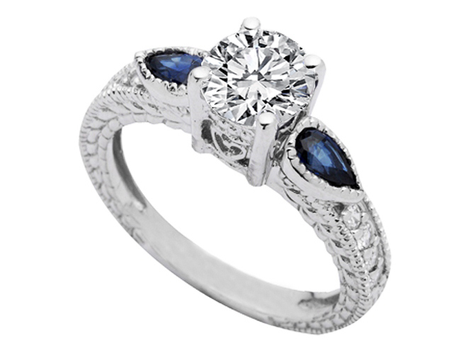 Vintage Style Heirloom Diamond Engagement Ring Pear Shape Blue Sapphires