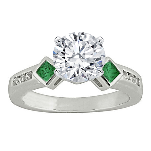 Diamond and Green Princess Emerald Engagement Ring 0.40 tcw. In 14K White Gold