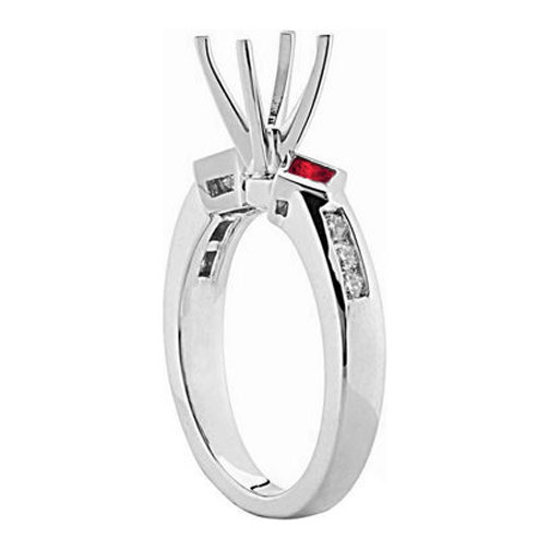 Diamond and Red Princess Ruby Engagement Ring 0.40 tcw. In 14K White Gold