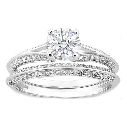 Knife Edge Diamond Engagement Ring and Matching Wedding Band 0.40 tcw. In 14K White Gold