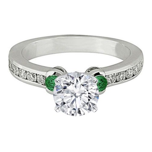 Three Stone Diamond & Green Emerald Engagement Ring 0.5 tcw. In 14K White Gold