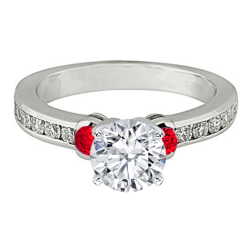 Three Stone Diamond & Red Ruby Engagement Ring 0.5 tcw. In 14K White Gold