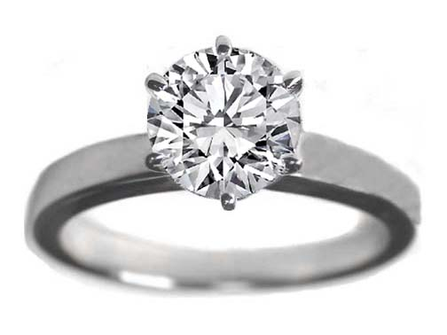 Classic Solitaire Diamond Engagement Ring flat band 6 Prongs In 14K White Gold