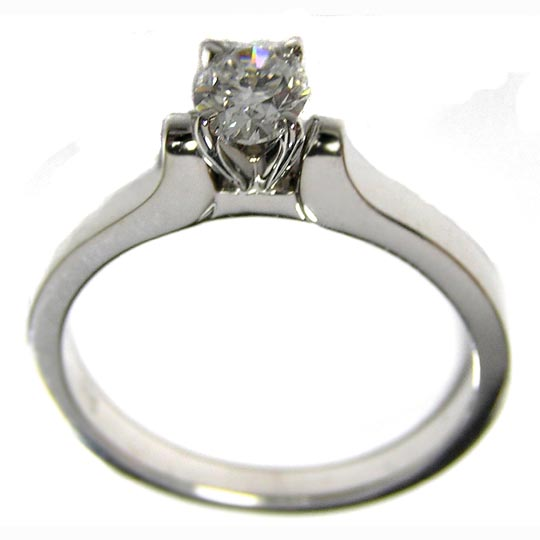 Classic Solitaire Oval Diamond Contour Engagement Ring in 14K White Gold