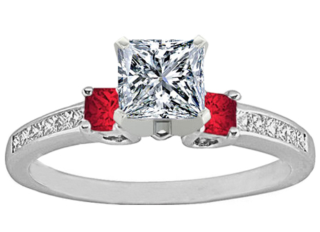 Three Stone Princess Diamond & Red Ruby Engagement Ring 0.5 tcw. In 14K White Gold