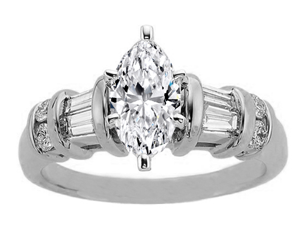 Marquise Engagement Ring Baguettes & Round Diamonds band 0.56 tcw.