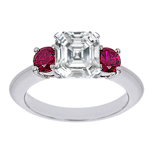 Asscher Cut Diamond Engagement Ring with Red Rubies 0.40 tcw. In 14K White Gold
