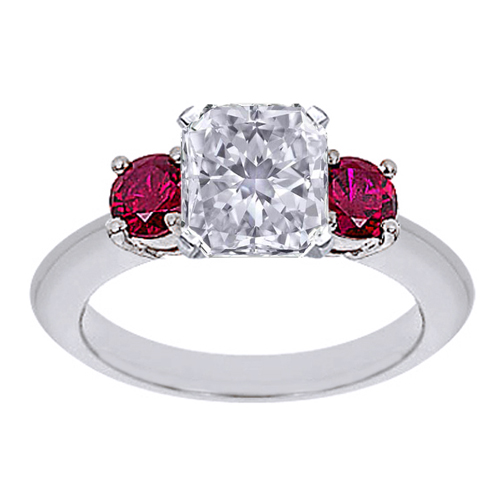 Asscher Cut Diamond Engagement Ring with Red Rubies 0.40 tcw.