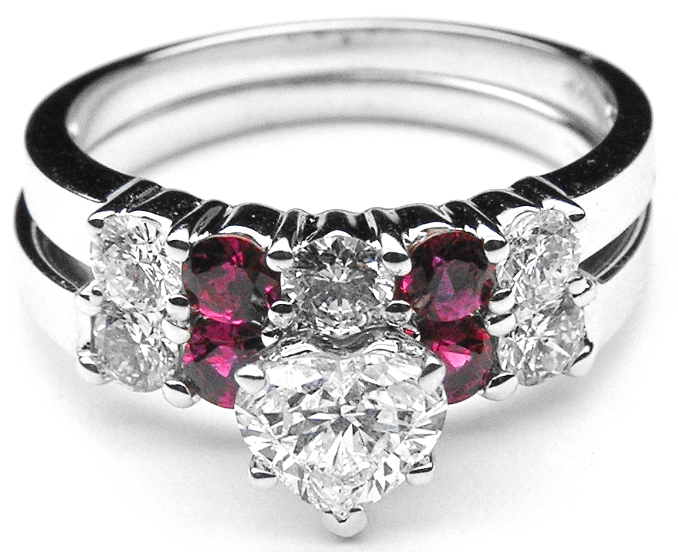 ruby cz ring size round engagement cut three accent stone anniversary bands to sterling platinum silver plated double