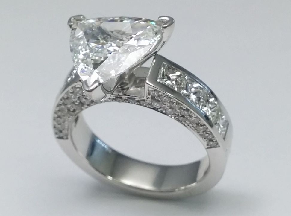 Trillion Diamond Engagement Ring with Princess & Round Diamond Accents