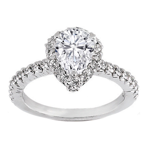 Engagement Ring Pave Set Pear Shaped Diamond Engagement Ring