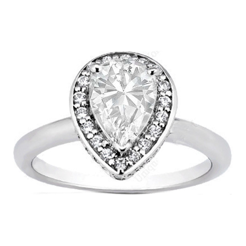 Engagement Ring Double Halo Pear Shape Diamond Engagement Ring 022