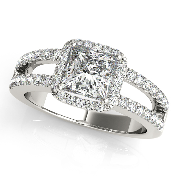 Square Diamond Halo Engagement Ring with Split Band & Matching Wedding Band