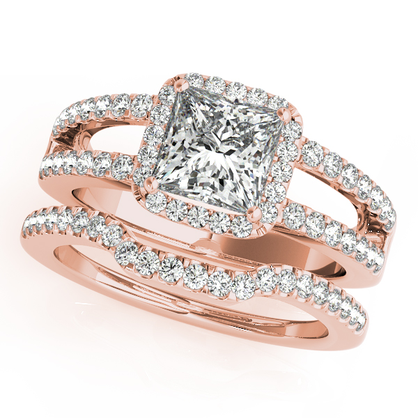 Square Diamond Halo Engagement Ring with Split Band & Matching Wedding Band in Rose Gold
