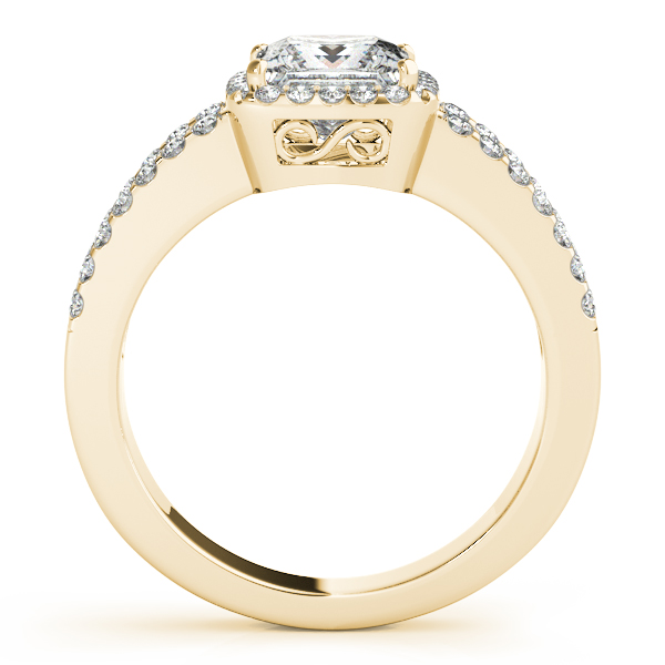 Square Diamond Halo Engagement Ring with Split Band & Matching Wedding Band in Yellow Gold