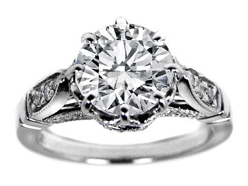 Edwardian Era Design Engagement Ring 0.30 tcw. Pave Platinum
