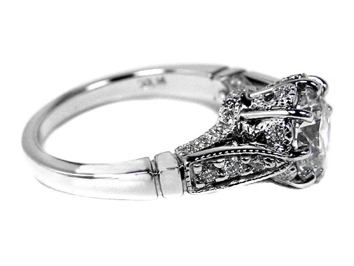 Platinum Pave Edwardian Era Design Engagement Ring 0.30 tcw.